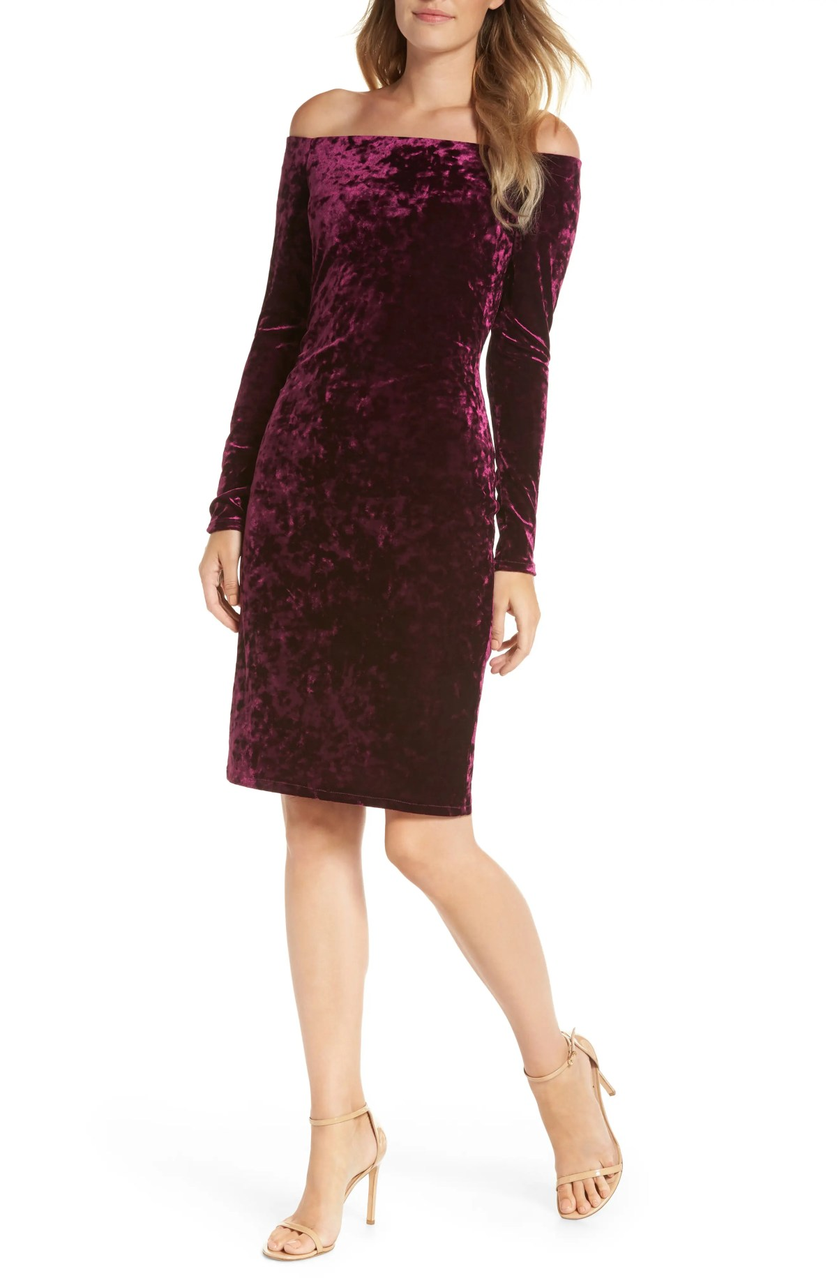Off the Shoulder Velvet Sheath Dress, Main, color, PLUM
