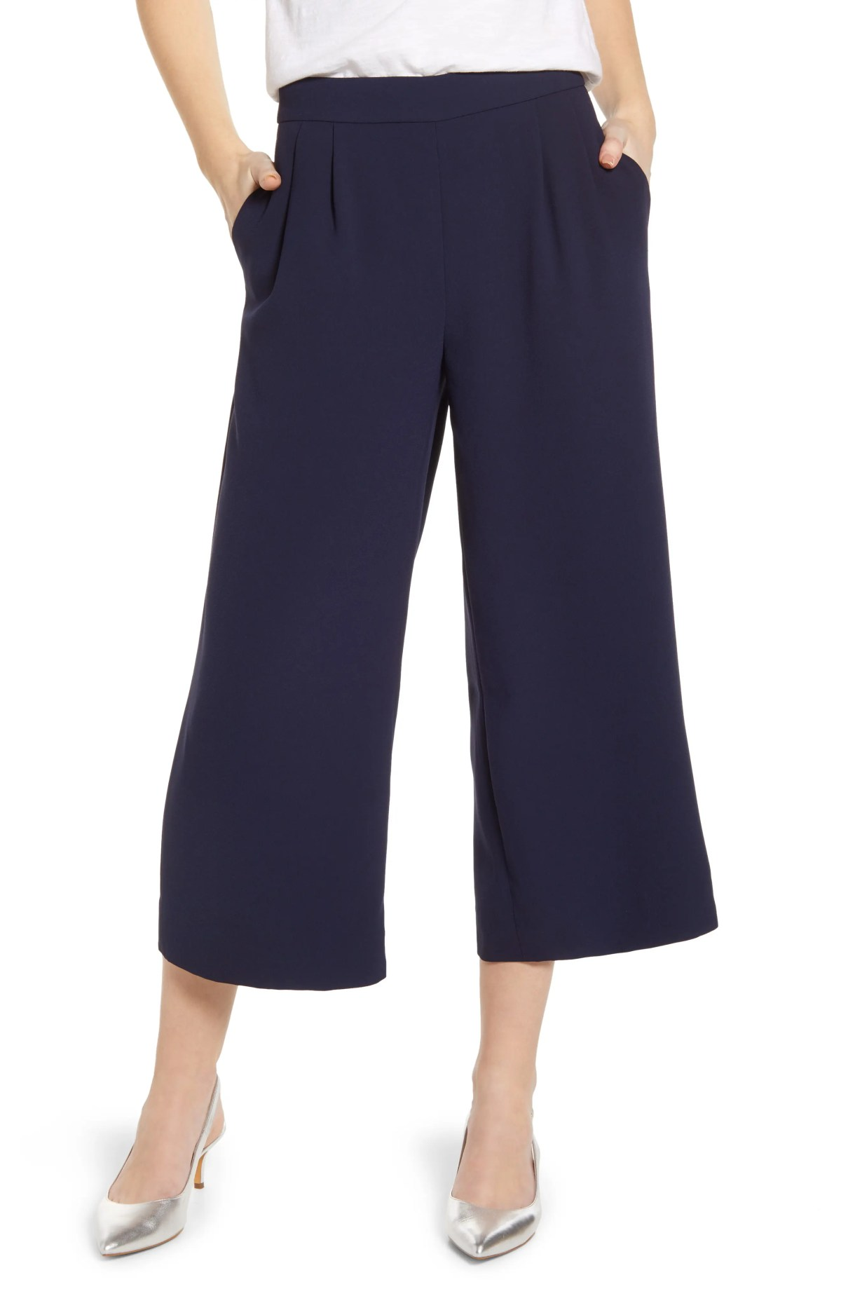 J.CREW Wide Leg Crop Pants, Main, color, NAVY