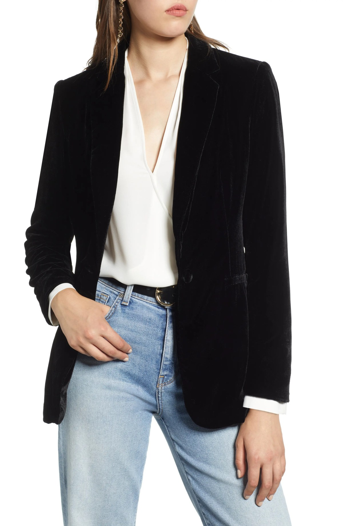 Velvet Blazer,                         Main,                         color, BLACK