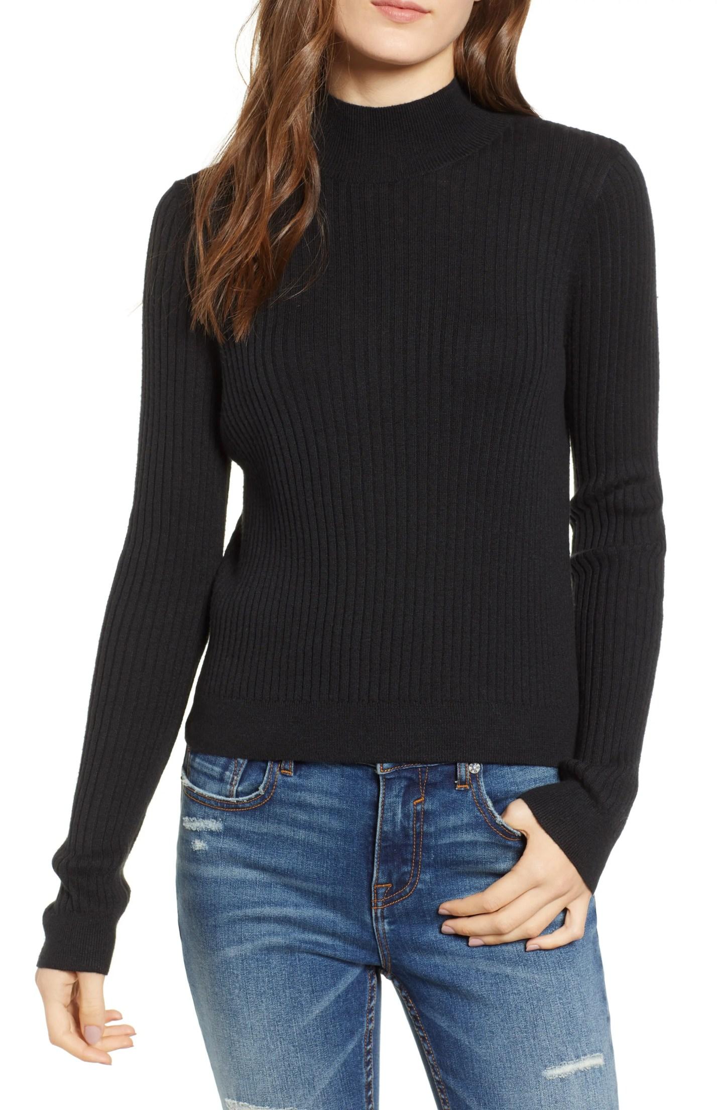 BP Rib Knit Mock Neck Sweater