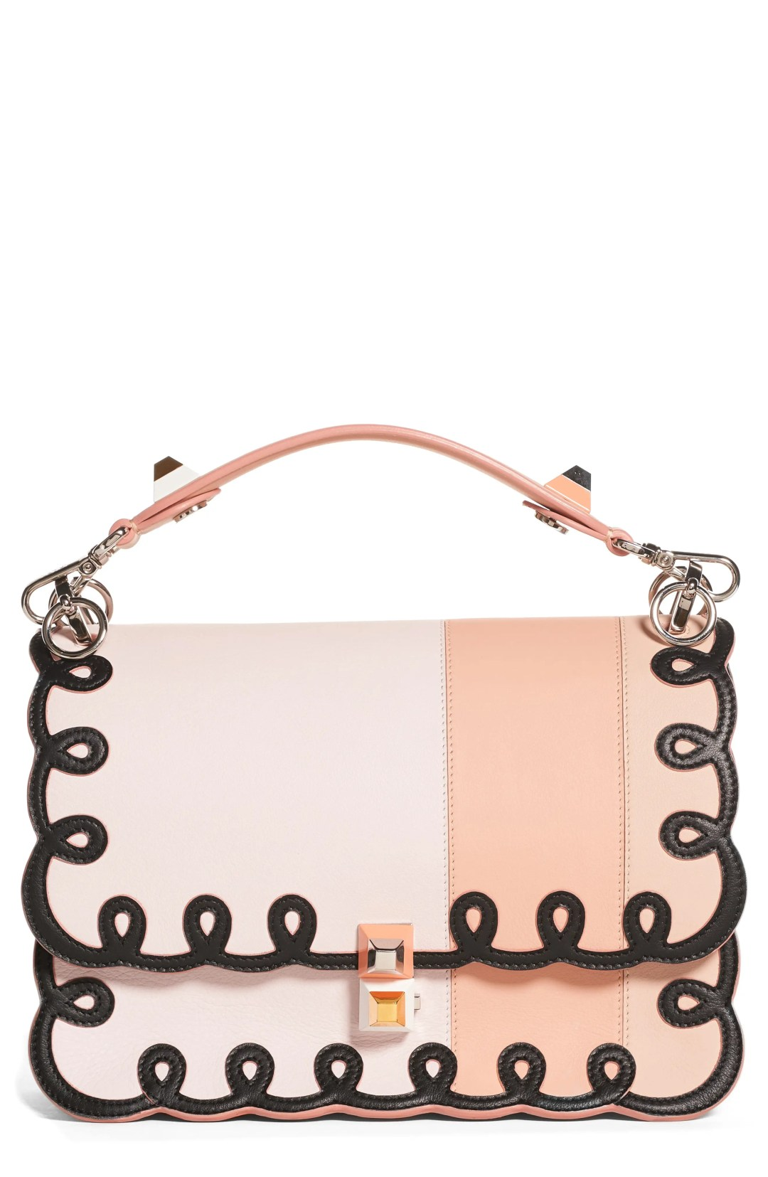 Fendi Kan I Scalloped Stripe Leather Shoulder Bag – Coral – NORDSTROM.com –   3 87dd9f6f3abd5