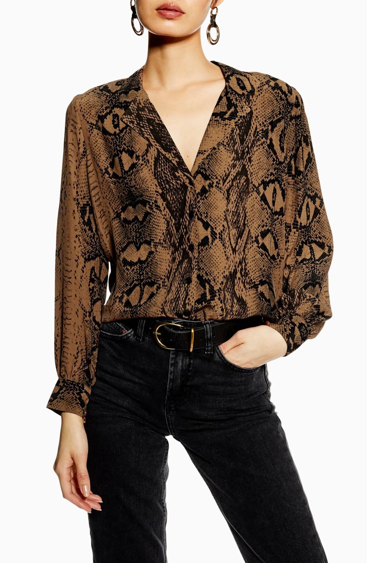 TOPSHOP Jessica Print Shirt, Main, color, DARK BROWN MULTI