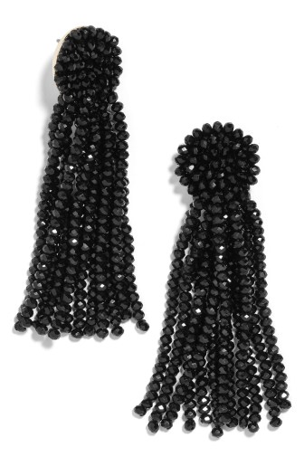 Beaded Tassel Earrings,                         Main,                         color, BLACK
