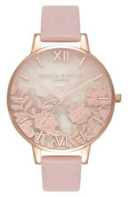 Floral Rose Leather Strap Watch, 38mm, Main, color, ROSE SAND/ QUARTZ/ ROSE GOLD