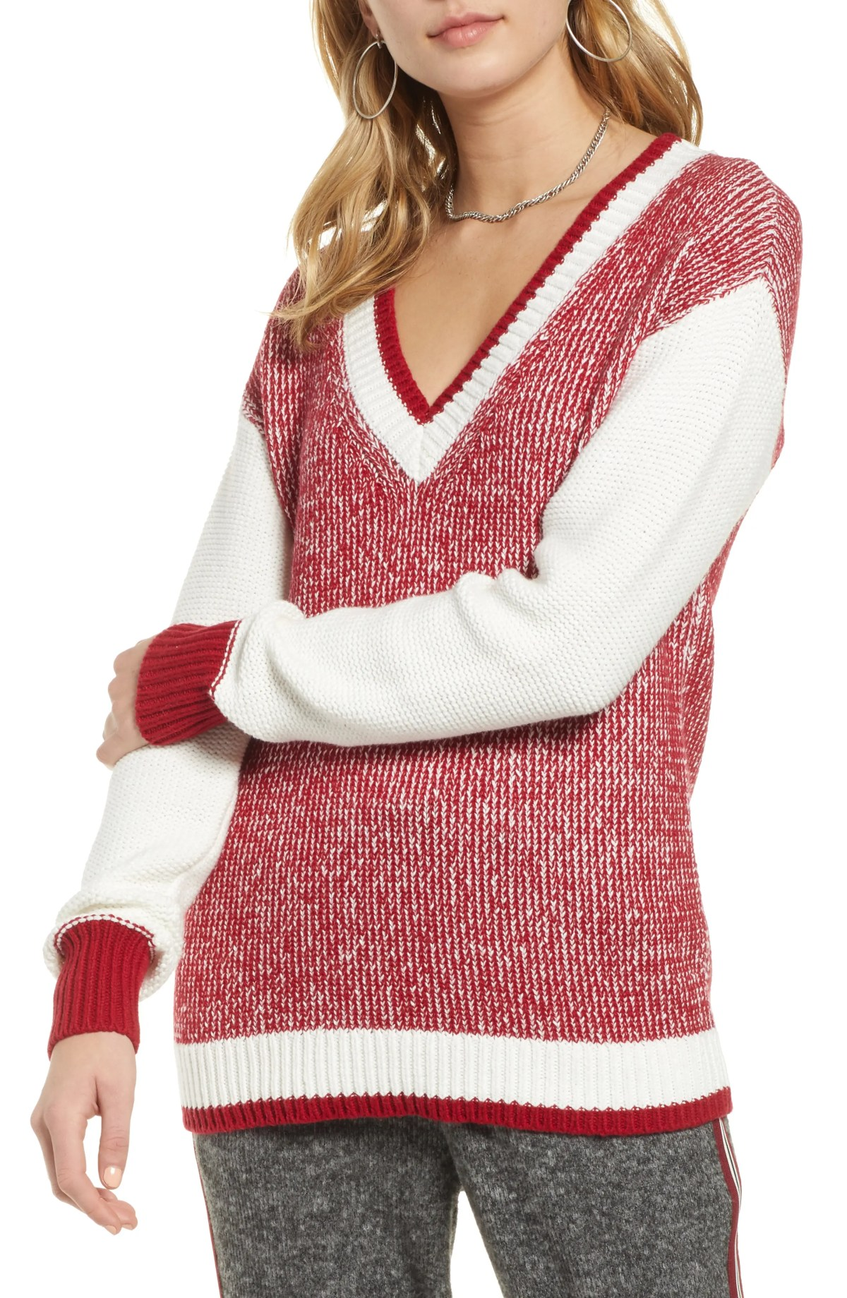 Marled V-Neck Sweater, Main, color, RED CHILE- WHITE COMBO