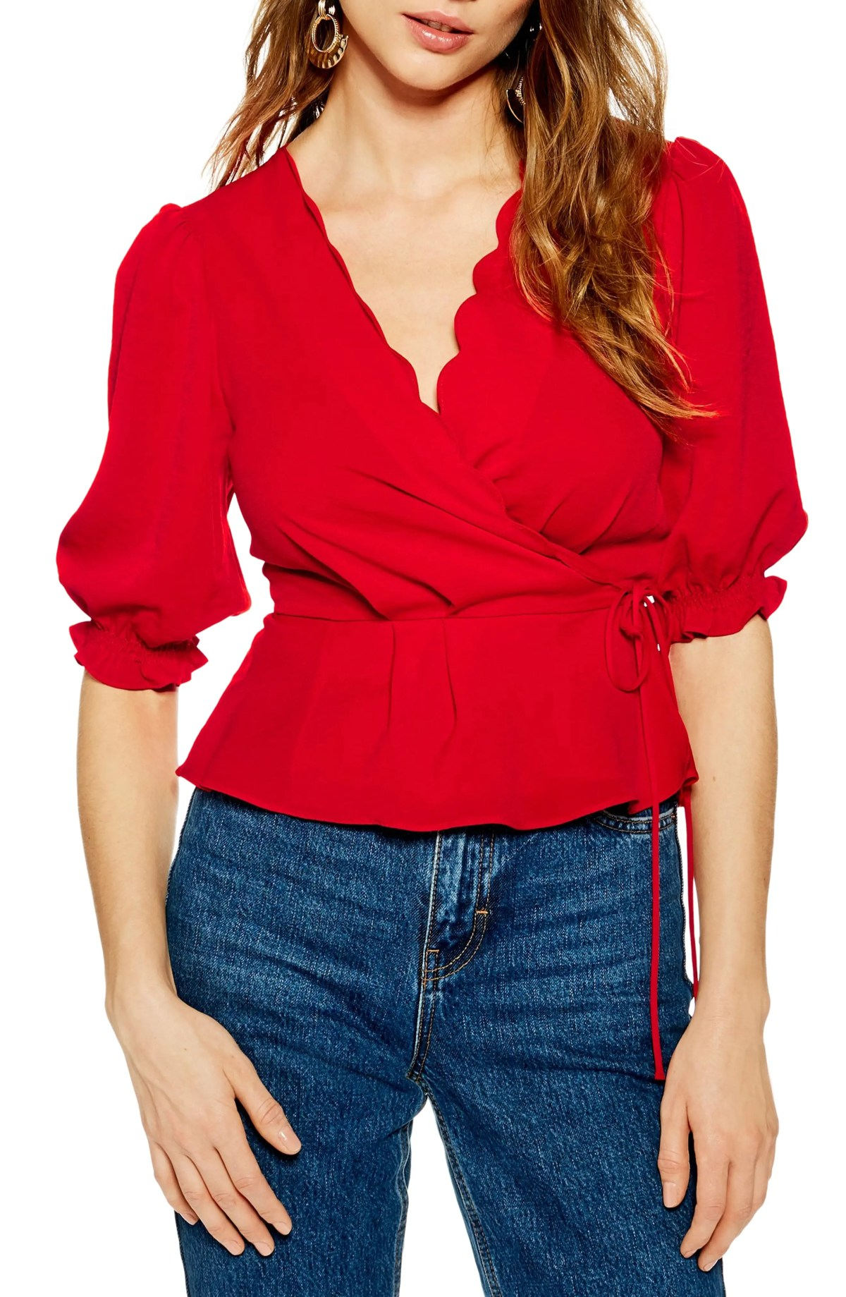 Scarlett Scalloped Wrap Blouse, Main, color, RED