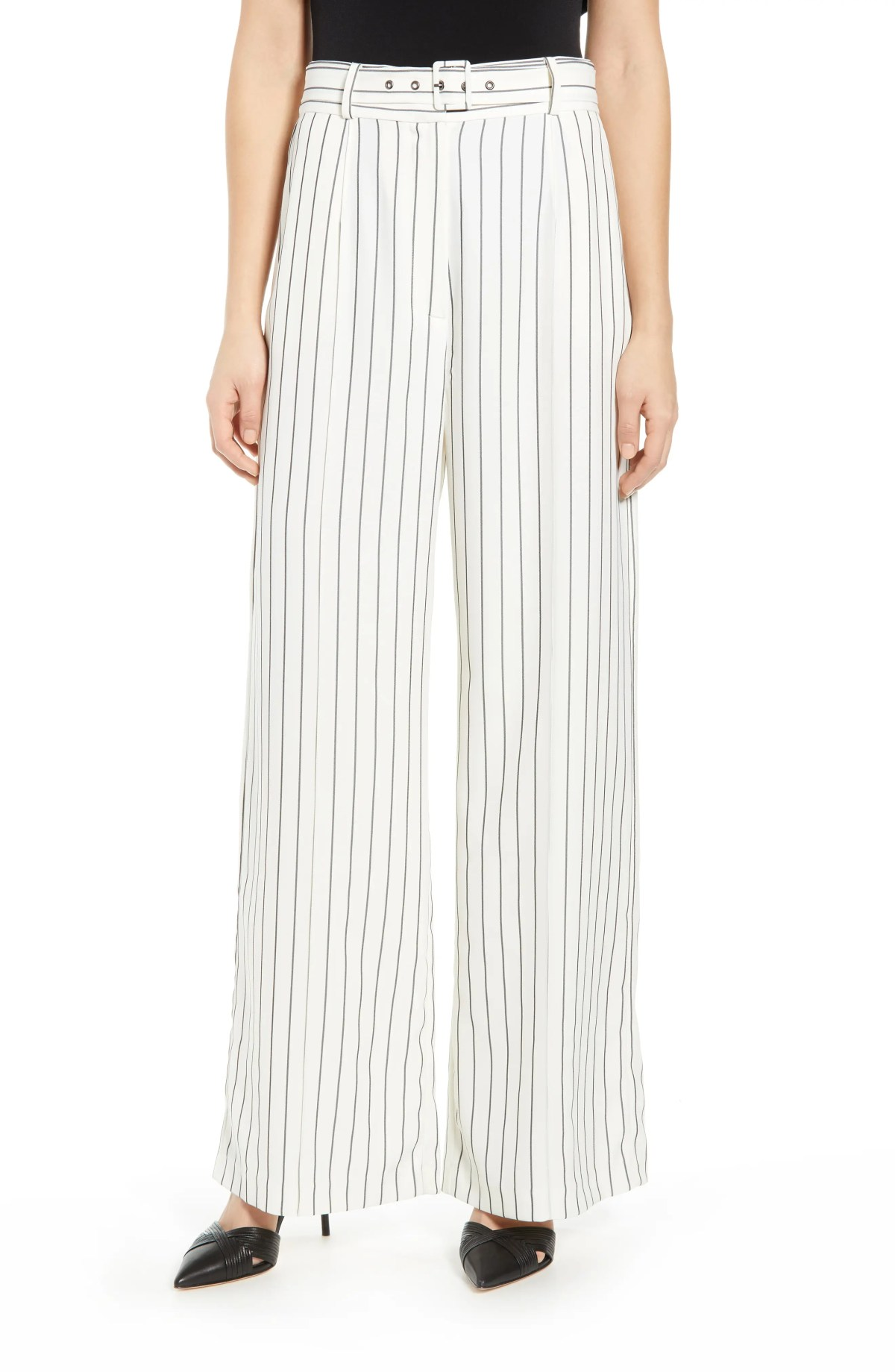 WAYF Layne Wide Leg Trousers, Main, color, IVORY/ WIDE STRIPE