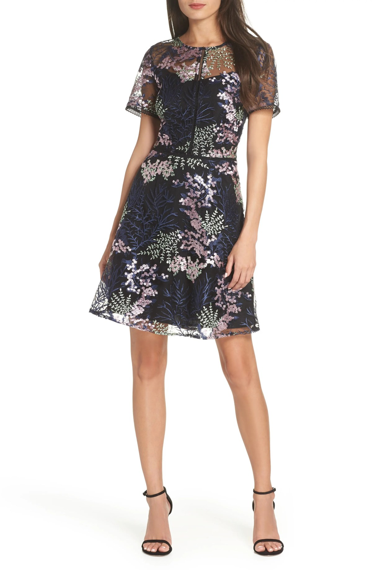 Embroidered Lace A-Line Dress, Main, color, BLACK FLOWY FLORAL