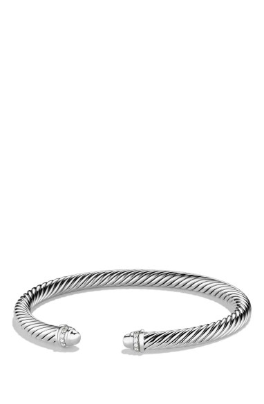 Cable Classics Bracelet with Diamonds, 5mm,                         Main,                         color, SILVER DOME