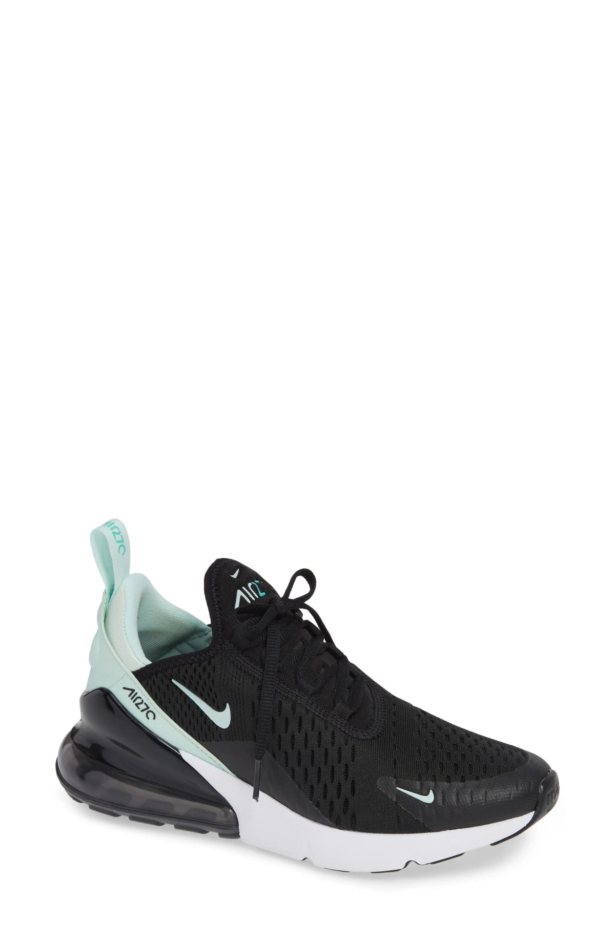 NIKE Air Max 270 Premium Sneaker, Main, color, BLACK/ IGLOO TURQUOISE WHITE