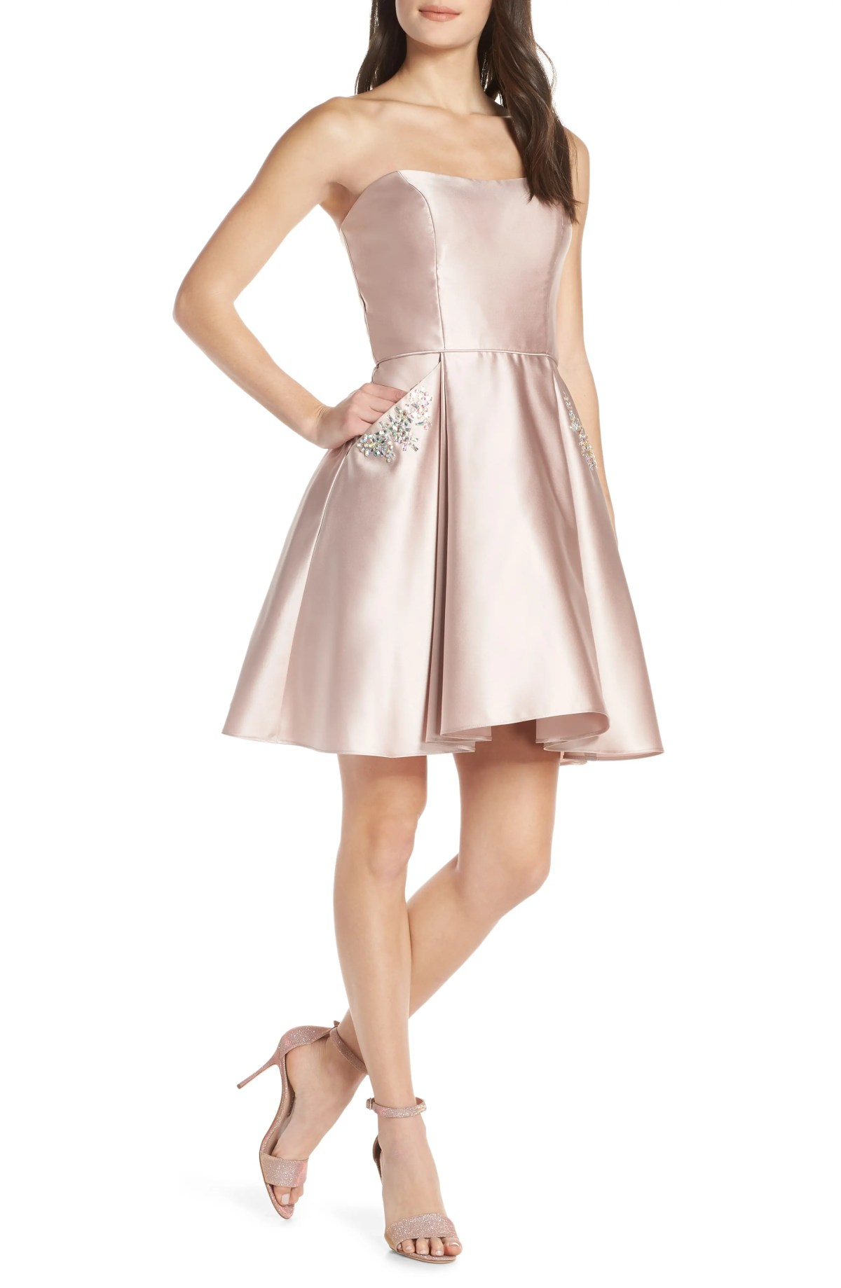 Embellished Satin Fit & Flare Dress, Main, color, BEIGE