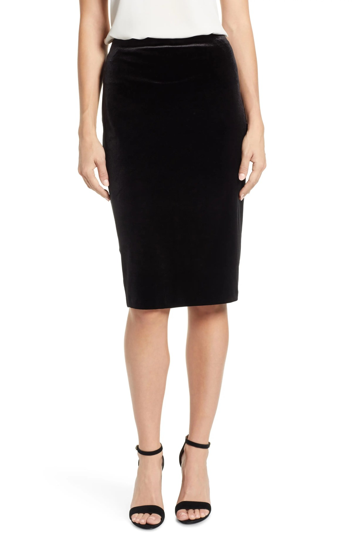 Velvet Pencil Skirt,                         Main,                         color, RICH BLACK