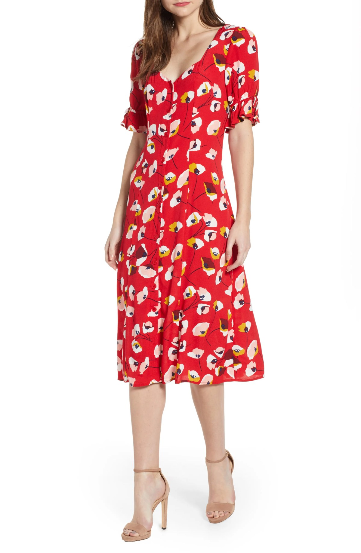 ROW A Floral Print Midi Dress, Main, color, RED POPPY FLORAL