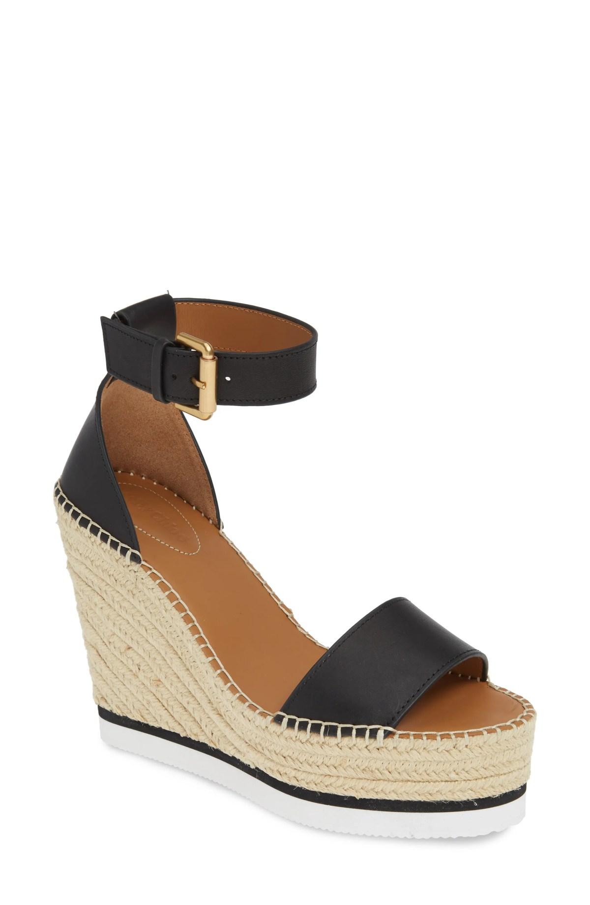 SEE BY CHLOÉ 'Glyn' Espadrille Wedge Sandal, Main, color, BLACK