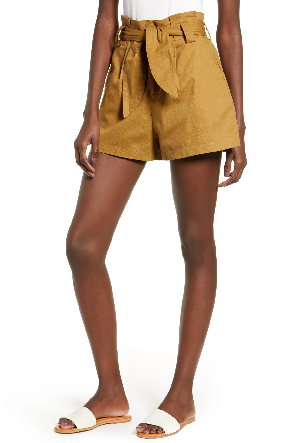 ALL IN FAVOR Paperbag Waist Shorts, Main, color, CAMEL