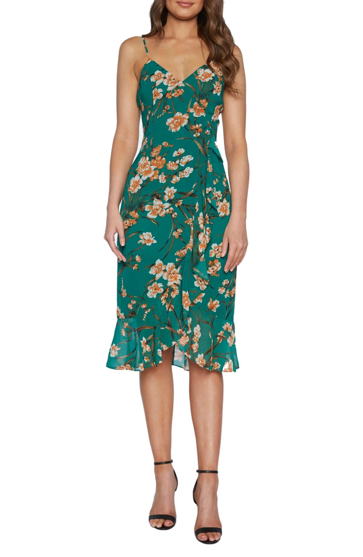 BARDOT Malika Floral Print Dress, Main, color, ORANGE FLORAL