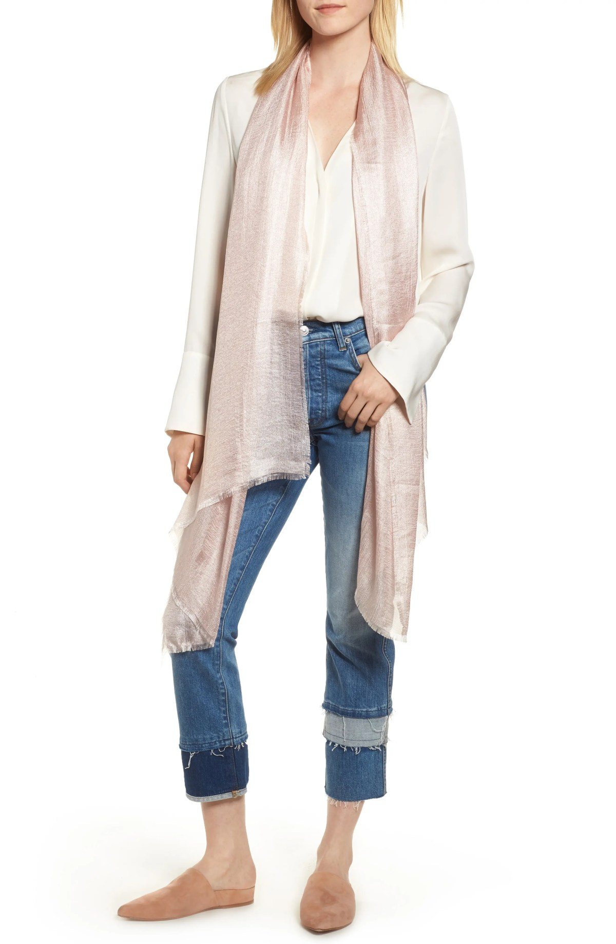 NORDSTROM Shimmer Wrap, Main, color, PINK CHINTZ