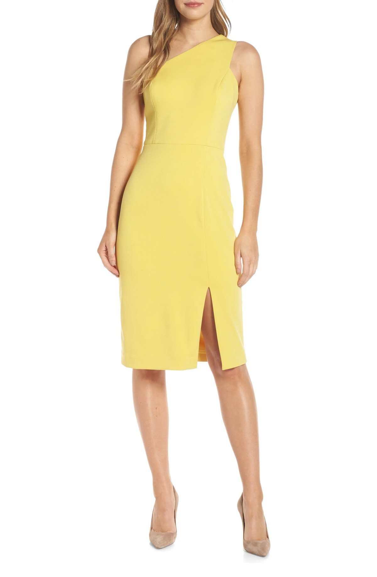 VINCE CAMUTO One-Shoulder Sheath Dress, Main, color, YELLOW