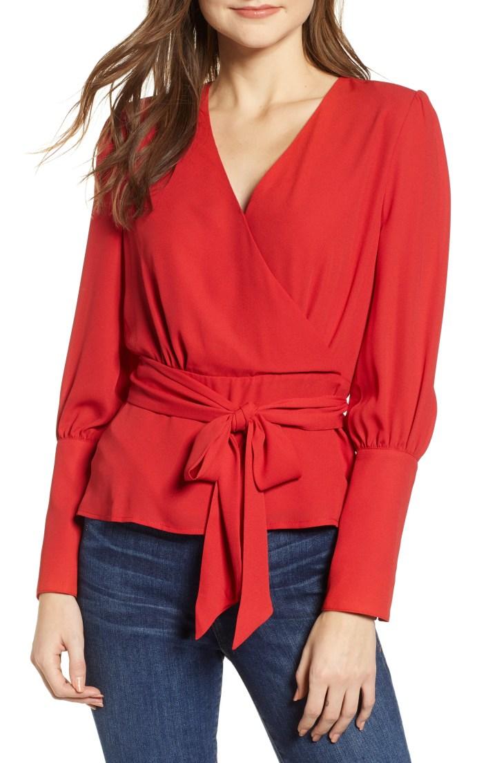 CHELSEA28 Tie Waist Blouse, Main, color, RED SAGE