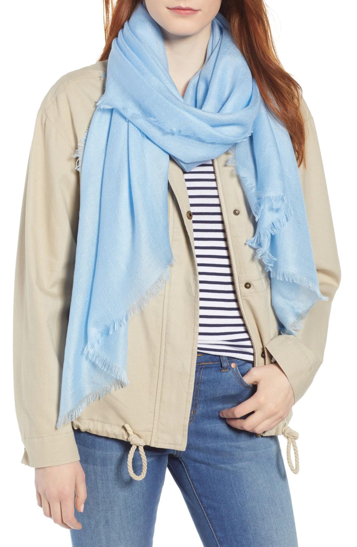 NORDSTROM Cashmere & Silk Wrap, Main, color, BLUE PLACID