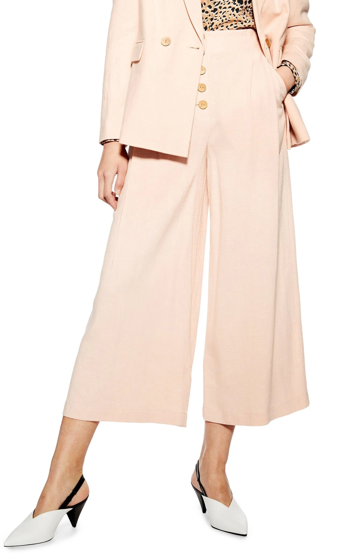 TOPSHOP Coco Cropped Wide Leg Trousers, Main, color, BLUSH