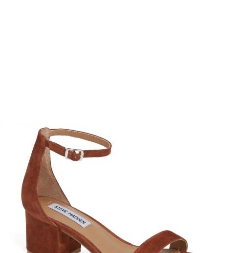 STEVE MADDEN Irenee Ankle Strap Sandal, Main, color, CHESTNUT SUEDE