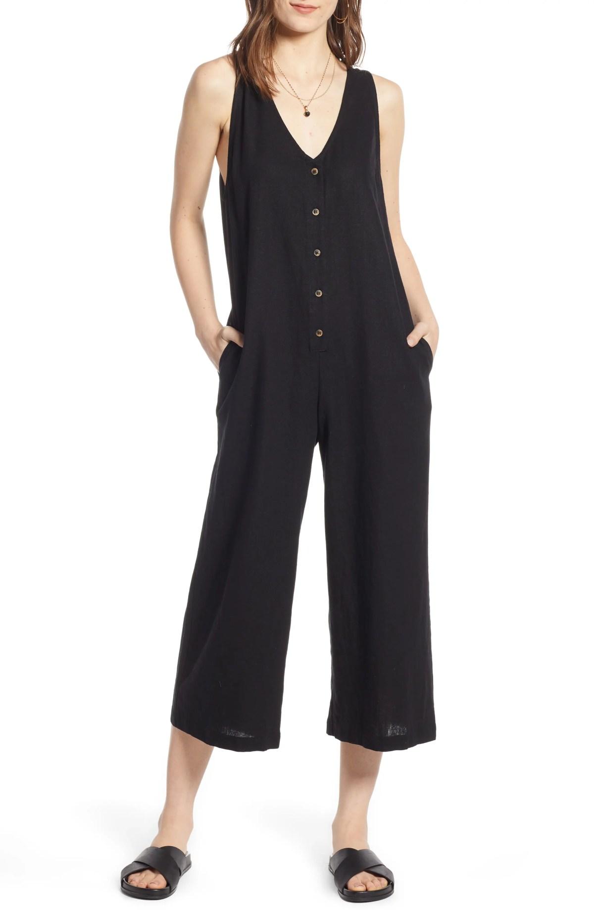 TREASURE & BOND Button Front Jumpsuit, Main, color, BLACK