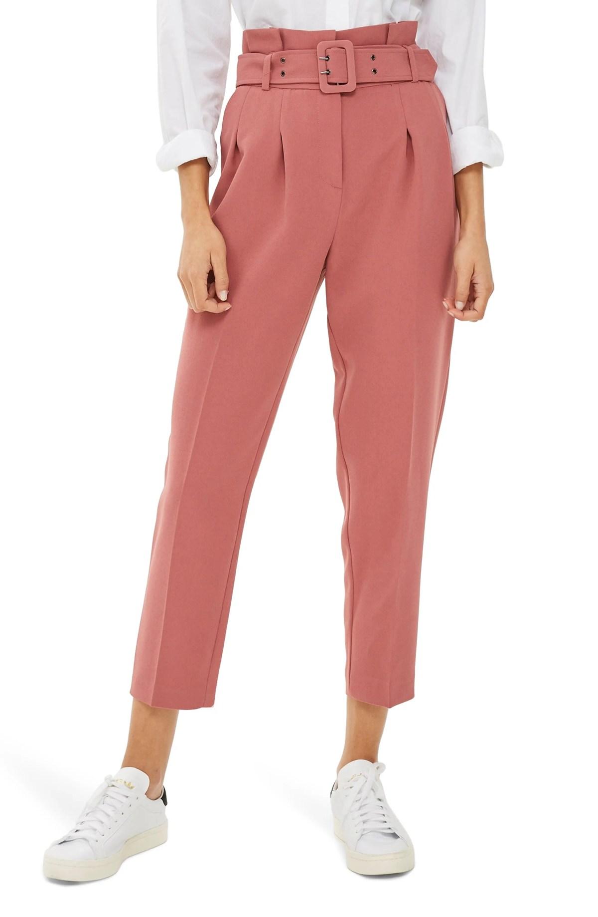 TOPSHOP Ayla Belted Eyelet Trouser, Main, color, PINK