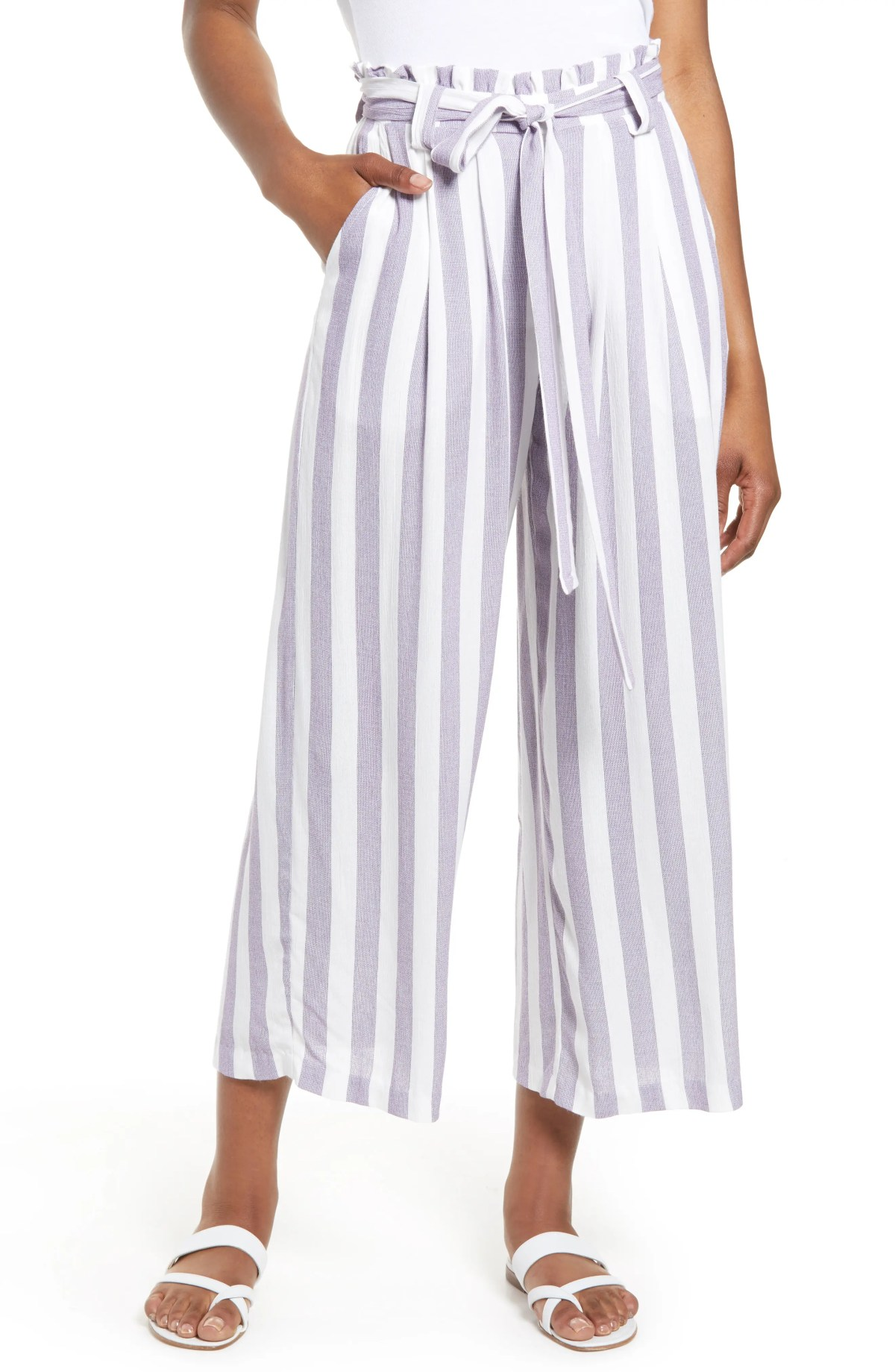 GIBSON x Hi Sugarplum! Sedona Wide Leg Ankle Pants, Main, color, PURPLE STRIPE