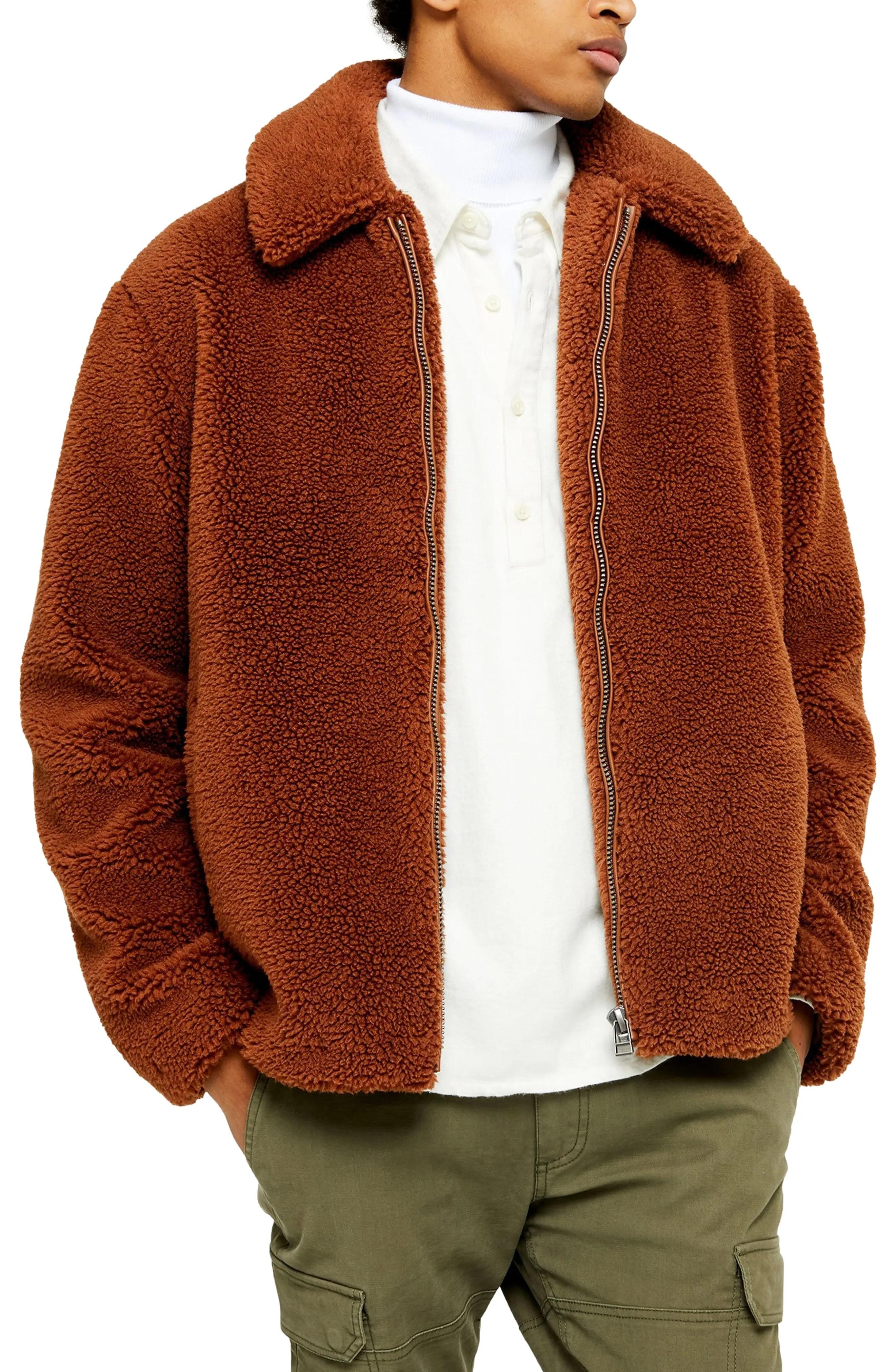 slim fit faux shearling teddy coat