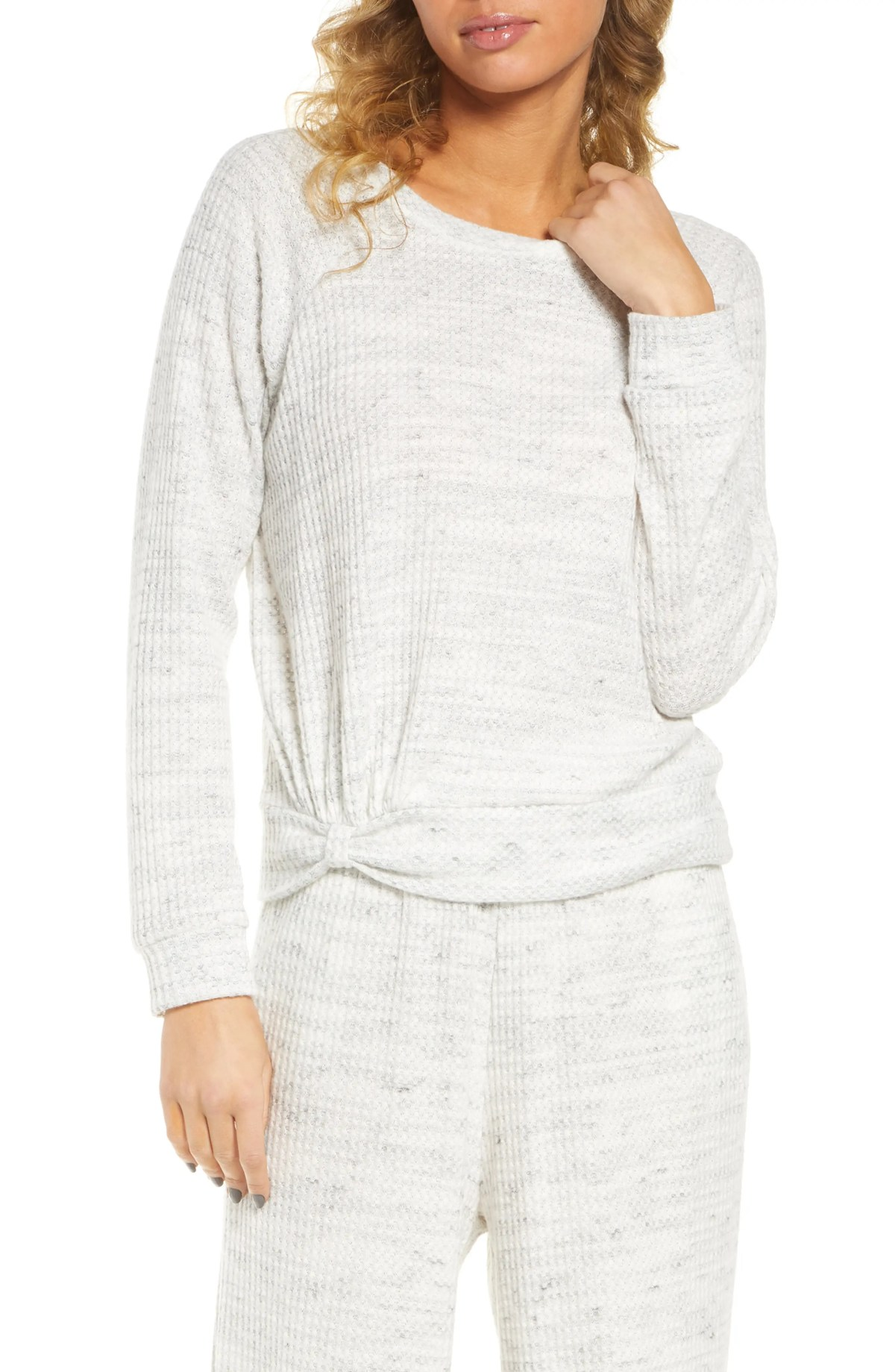 SOCIALITE Waffle Knit Pullover, Main, color, GREY