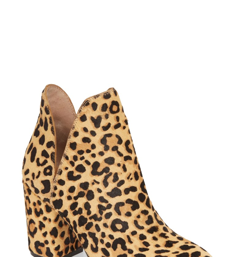 Rockstar Genuine Calf Hair Bootie, Main, color, LEOPARD CALF HAIR