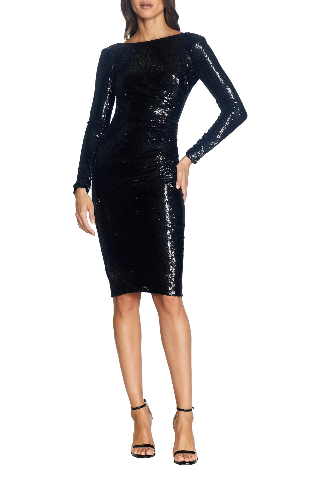 DRESS THE POPULATION Emilia Sequin Long Sleeve Cocktail Dress, Main, color, EBONY