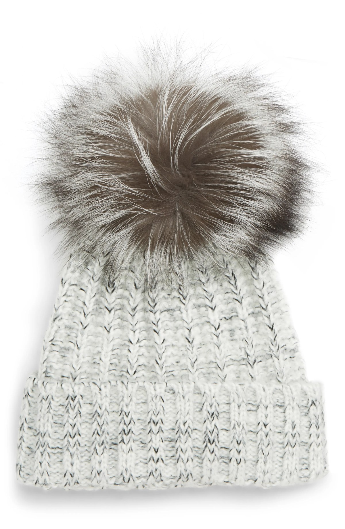 KYI KYI Beanie with Genuine Fox Fur Pom, Main, color, GREY-SILVER FOX