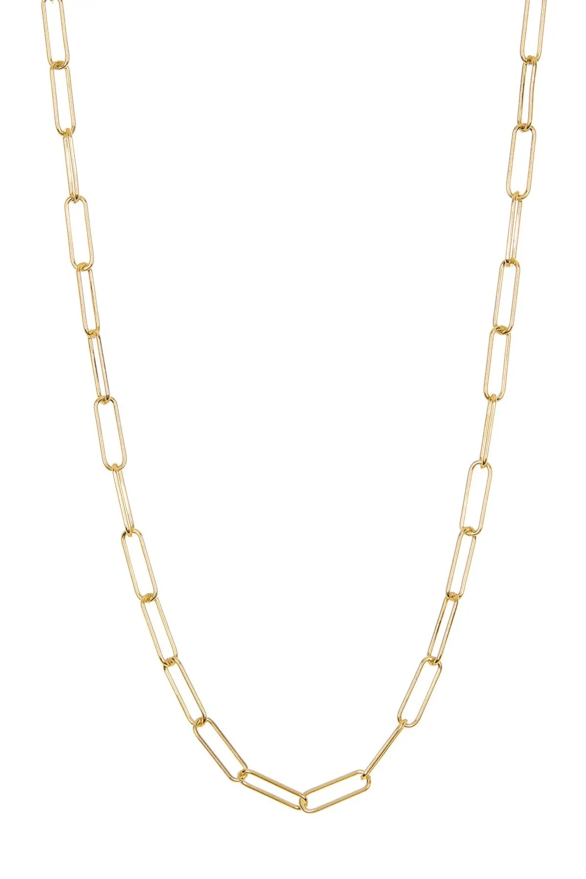 adornia 14k gold plated sterling silver paper clip necklace nordstrom rack
