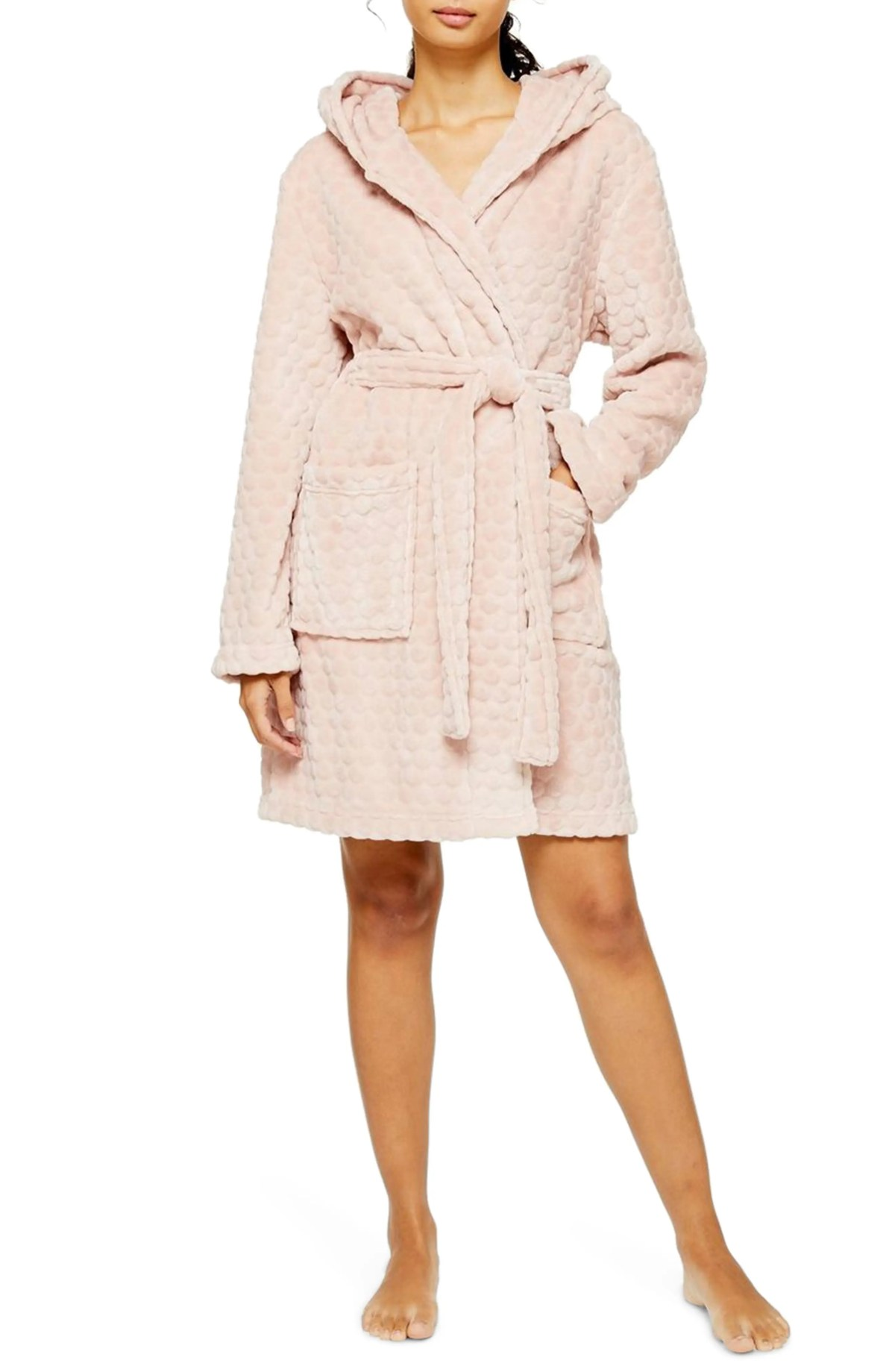 TOPSHOP Spot Robe, Main, color, LIGHT PINK