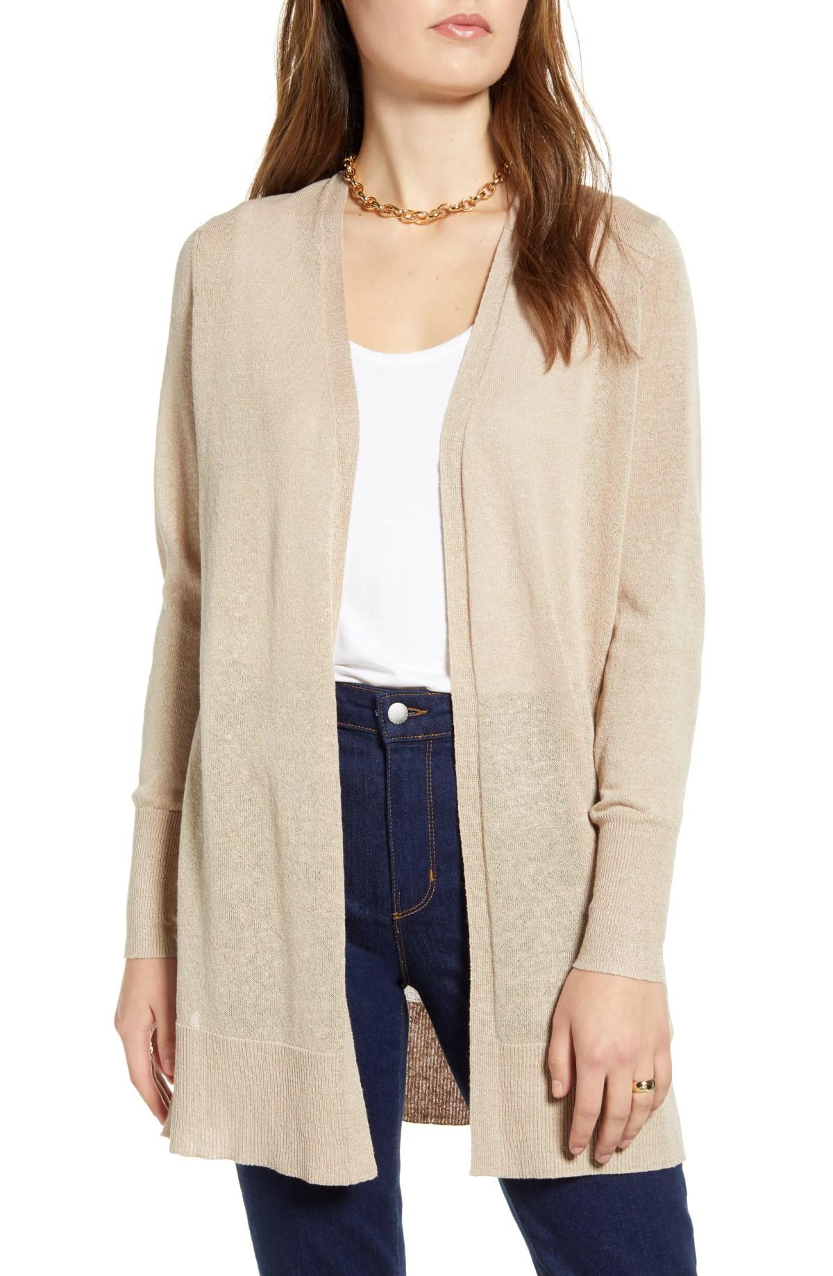 HALOGEN<SUP>®</SUP> Side Slit Cardigan, Main, color, TAN COBBLESTONE