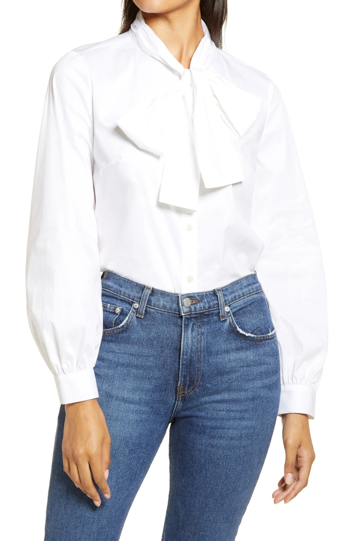 HALOGEN<SUP>®</SUP> Tie Neck Shirt, Main, color, WHITE