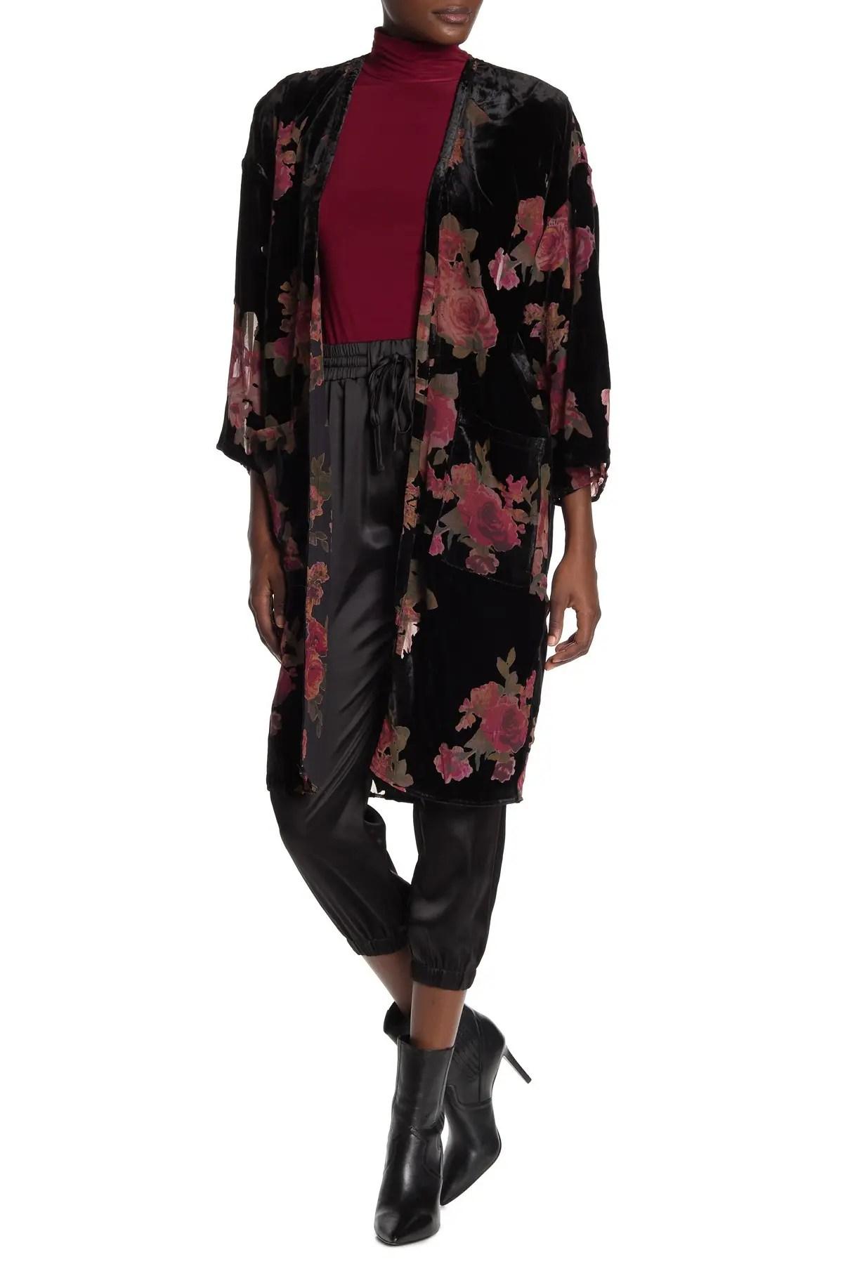 dress forum sunset rose velvet burnout kimono nordstrom rack