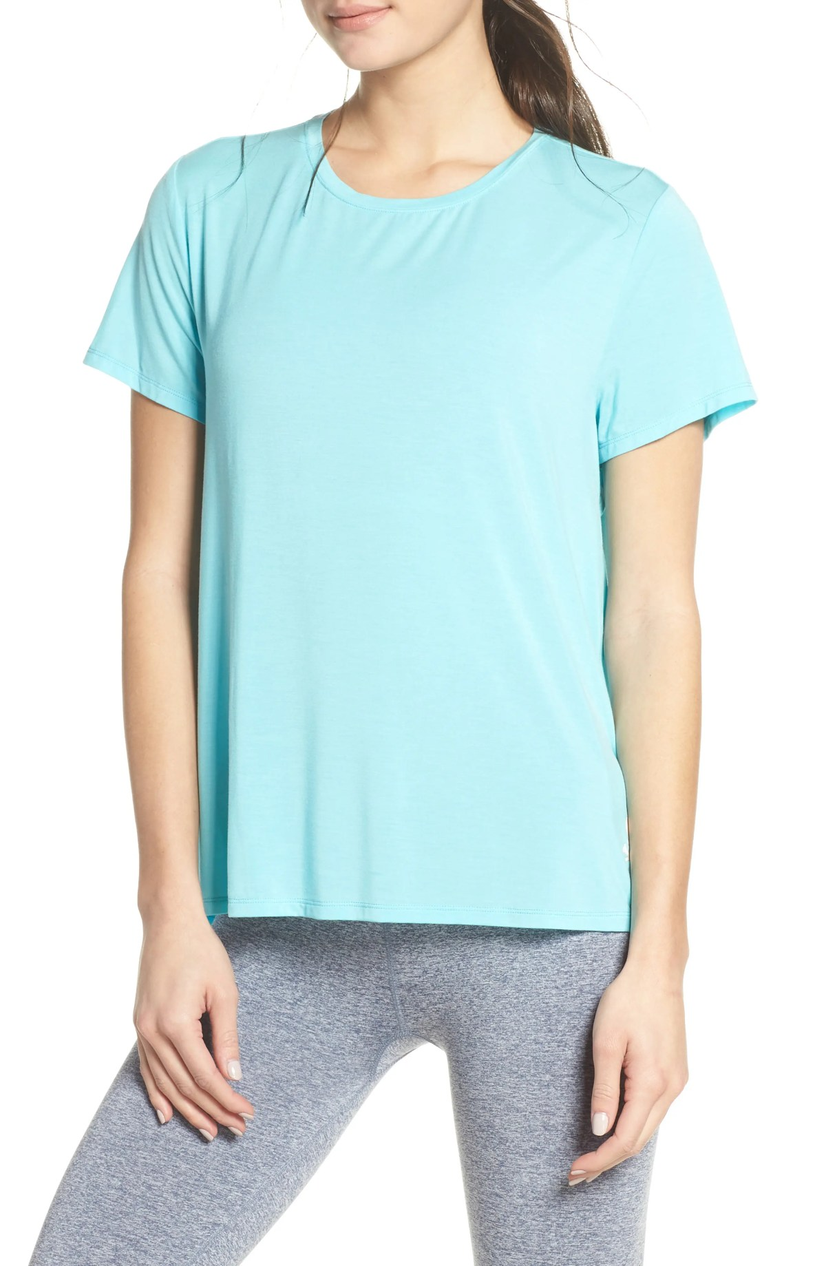 Keyhole Back Tee, Main, color, BLUE