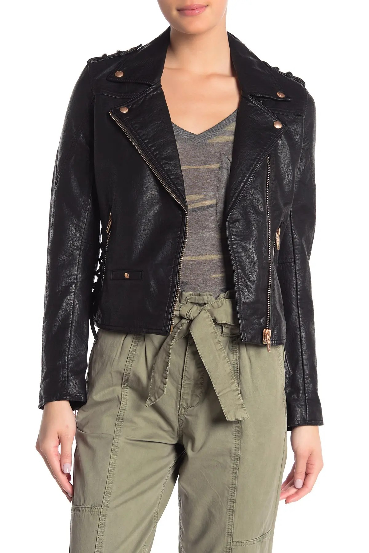 blanknyc denim lace up faux leather moto jacket nordstrom rack