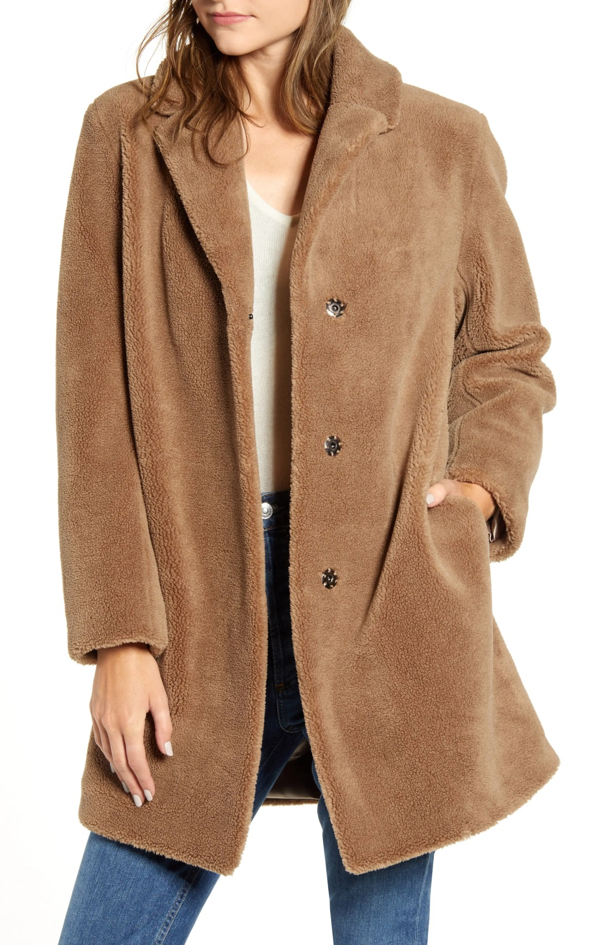 VELVET BY GRAHAM & SPENCER Velvet by Grahan & Spencer Lux Faux Shearling Coat, Main, color, TAN