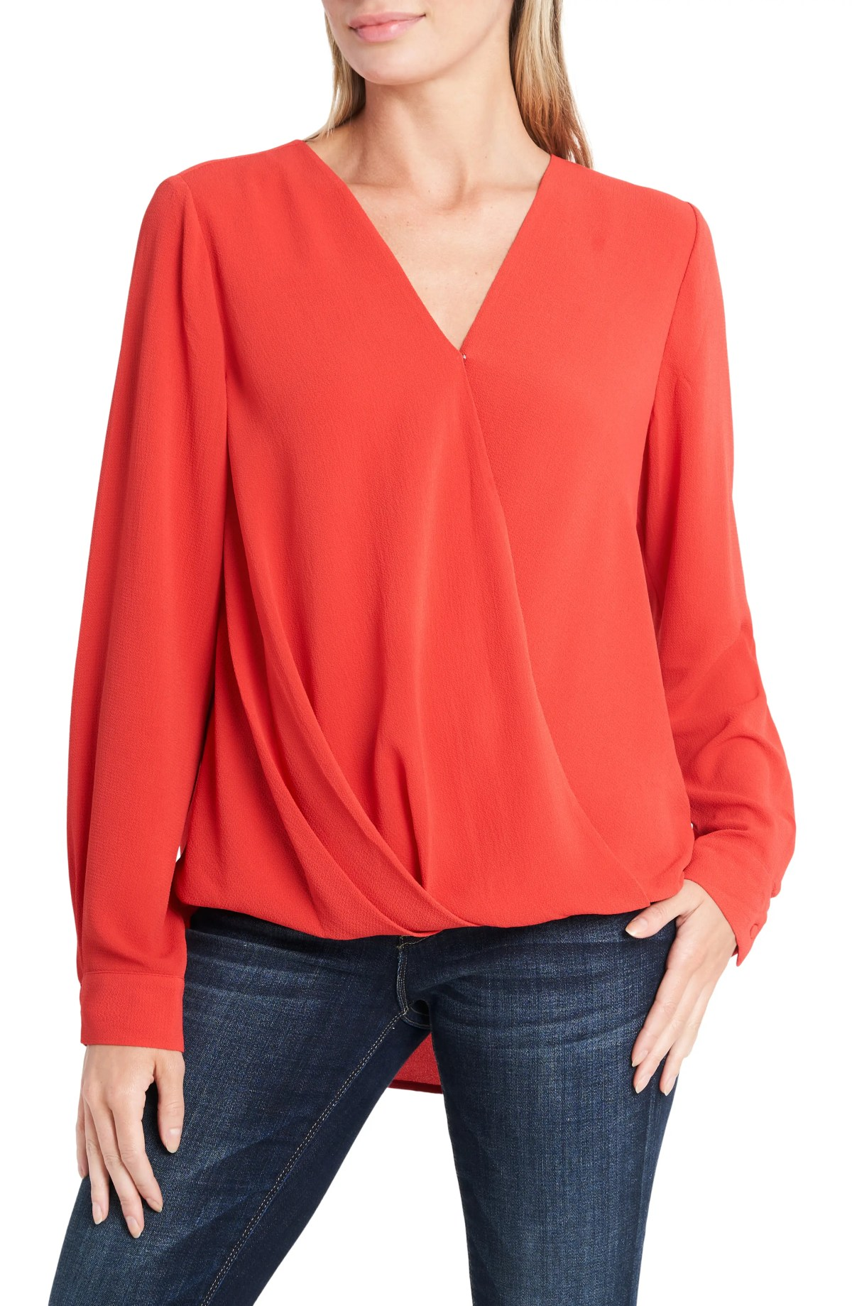VINCE CAMUTO Long Sleeve Faux Wrap Blouse, Main, color, SPICED RED