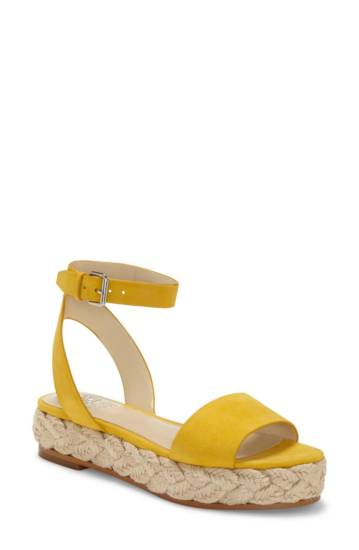 VINCE CAMUTO Defina Ankle Strap Platform Sandal, Main, color, GOLDEN MUSTARD SUEDE