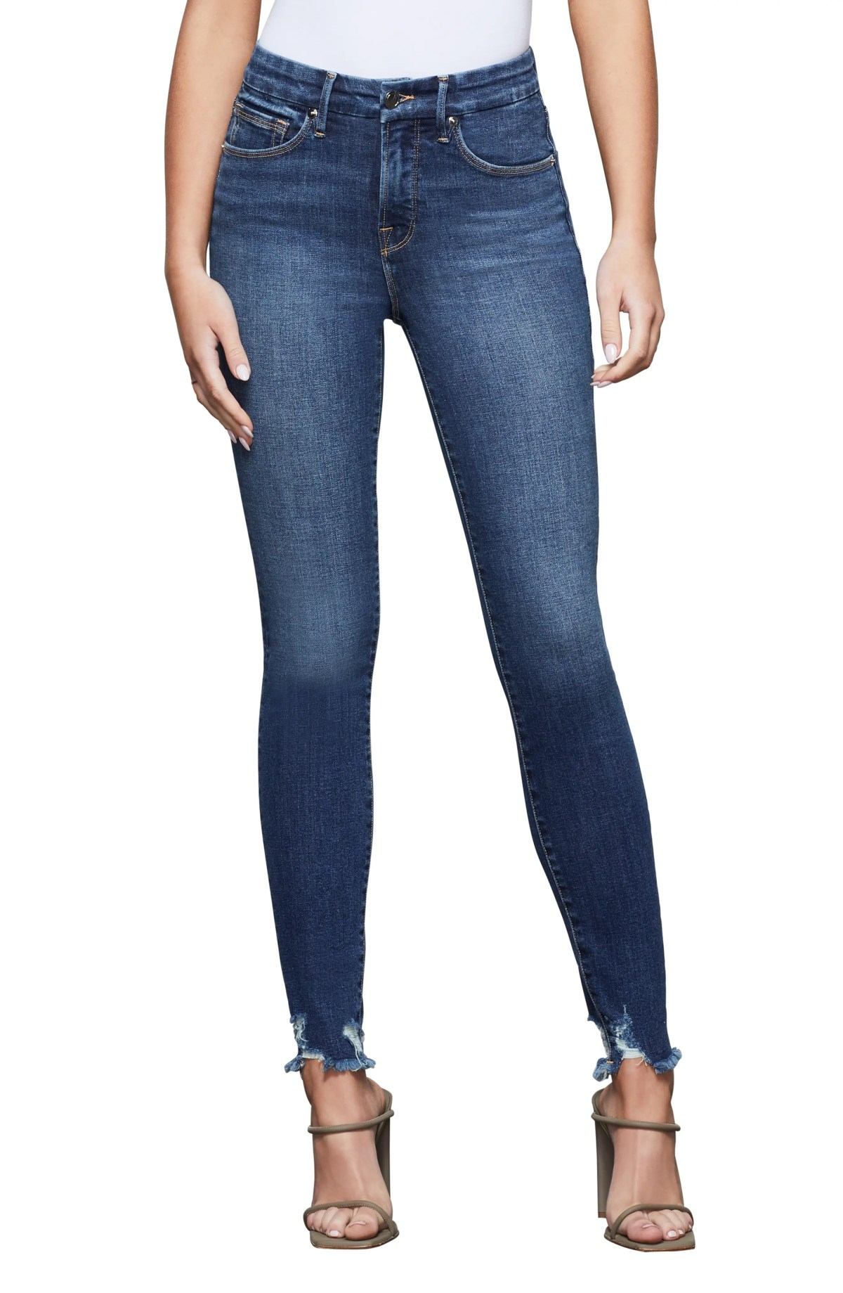 GOOD AMERICAN Good Legs Fray Hem Jeans, Main, color, BLUE