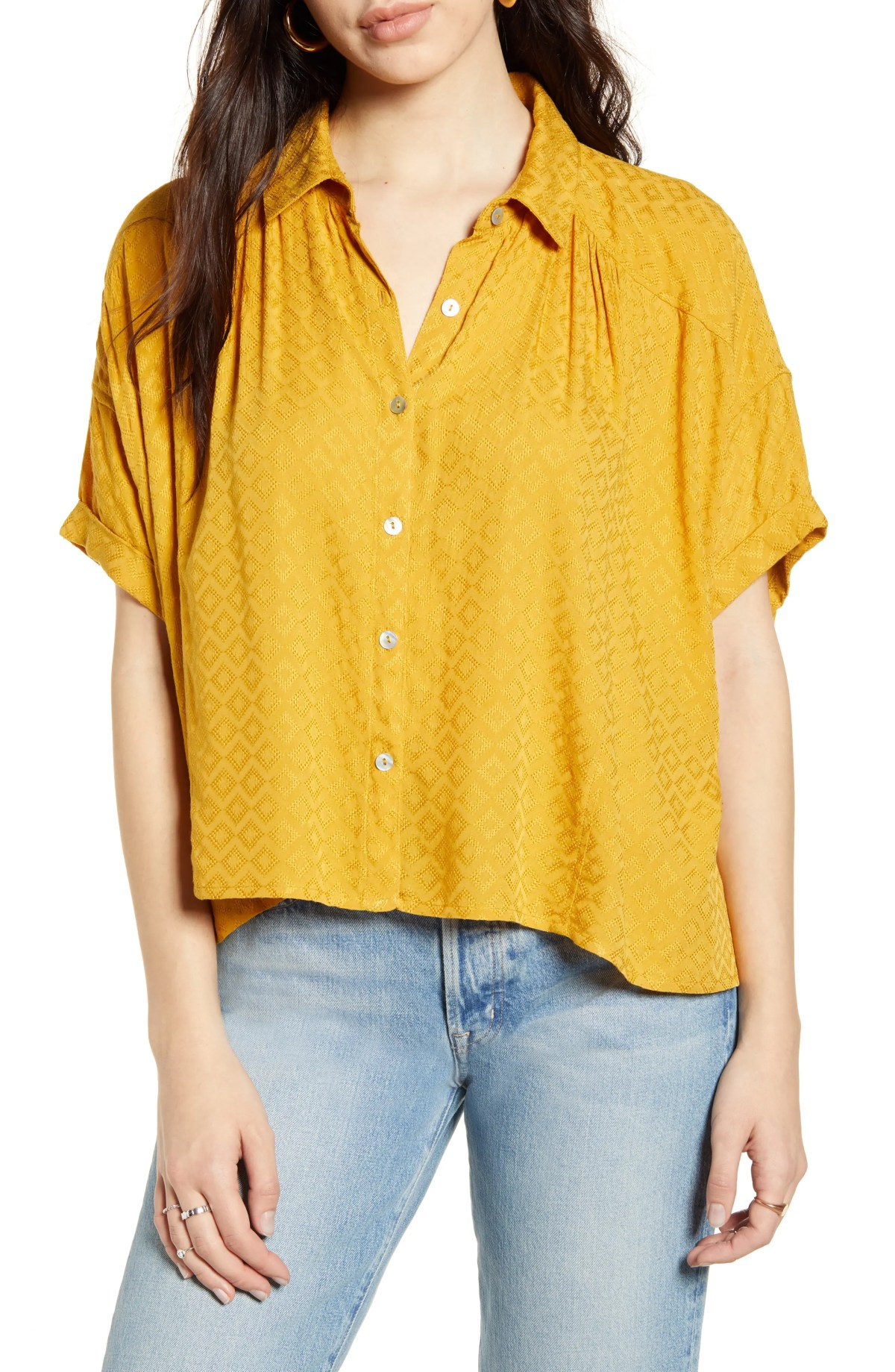 BP. Textured Oversize Button-Up Shirt, Main, color, YELLOW GOLD