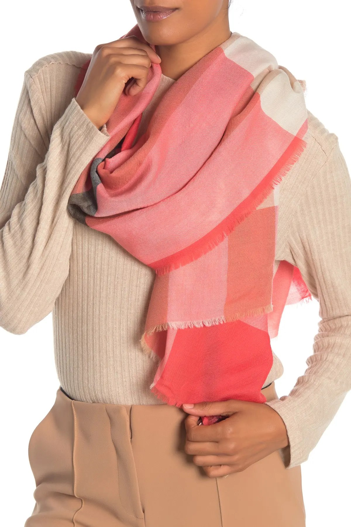 fluro lightweight mega check cashmere scarf