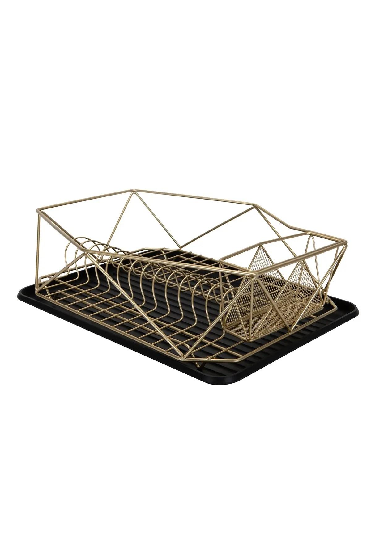 satin gold geode dish rack