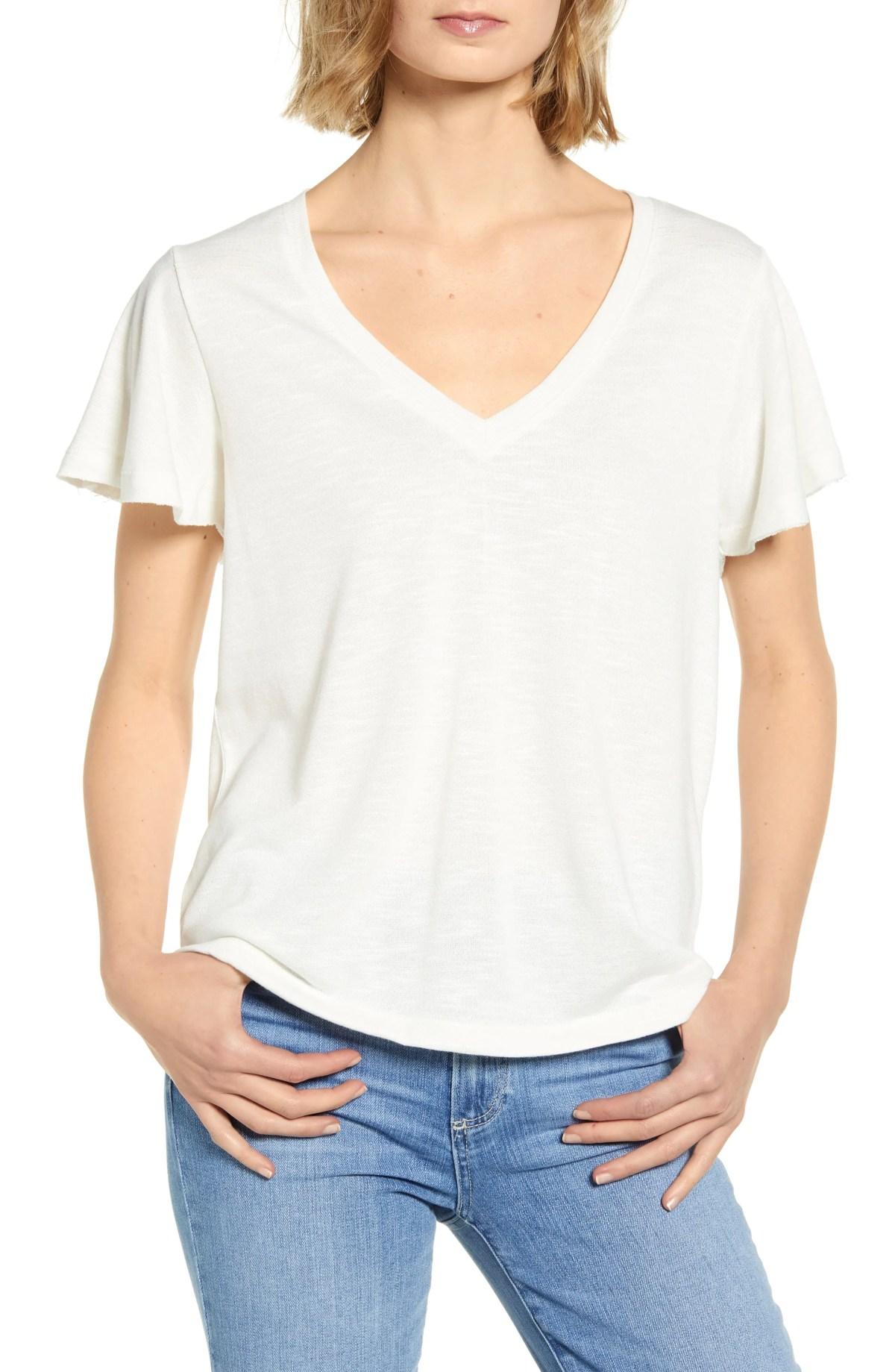 PAIGE Rochel Ruffle Sleeve T-Shirt, Main, color, VANILLA / IVORY