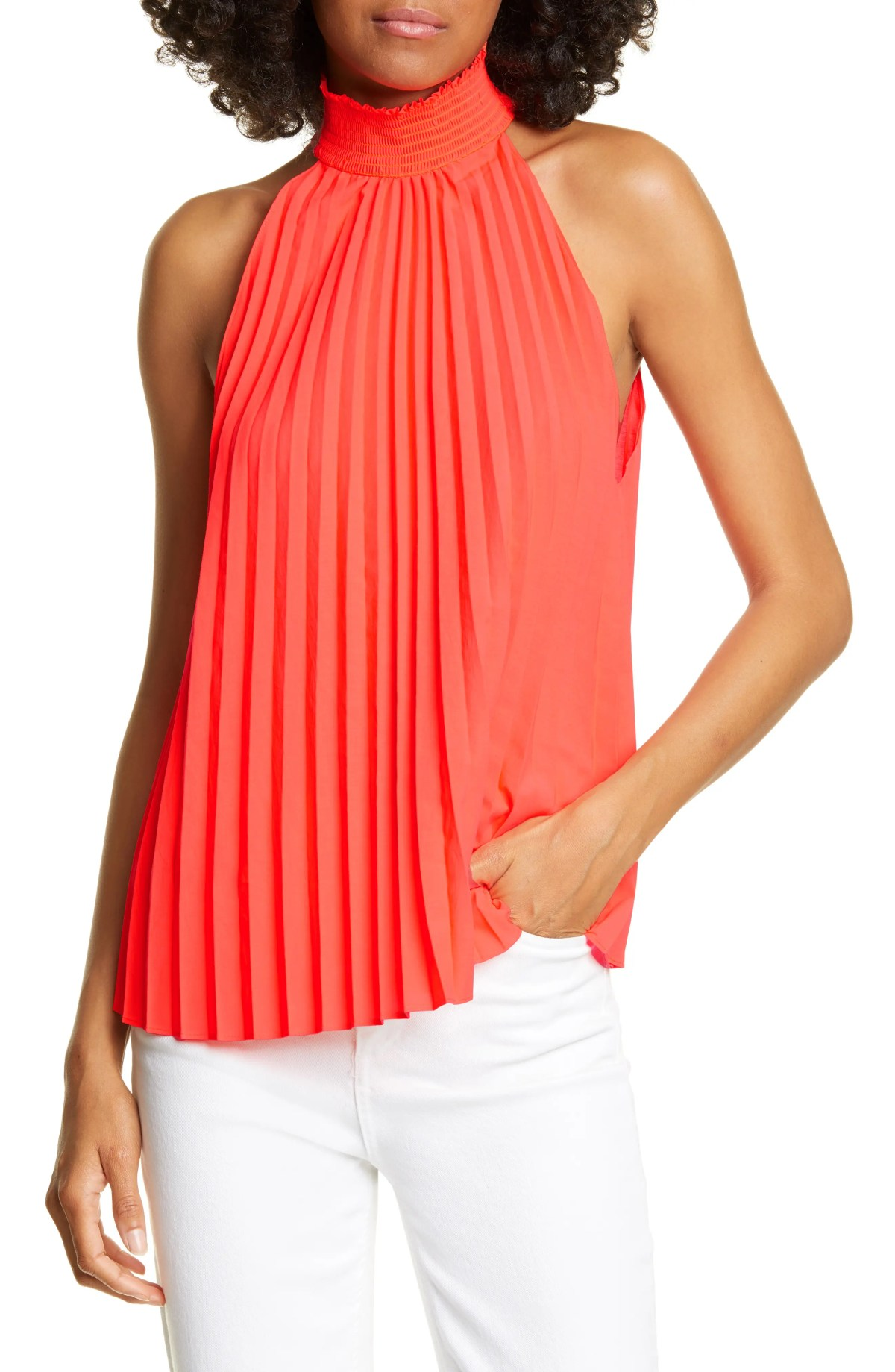 Imani Pleated Sleeveless Top, Main, color, NEON ORANGE